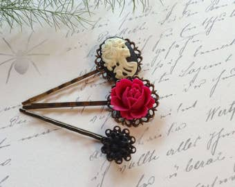 Hair Clips Set of 3, Gothic She Skull And Roses Bobby Pins