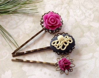 Hair Clips Octo And Magenta Roses