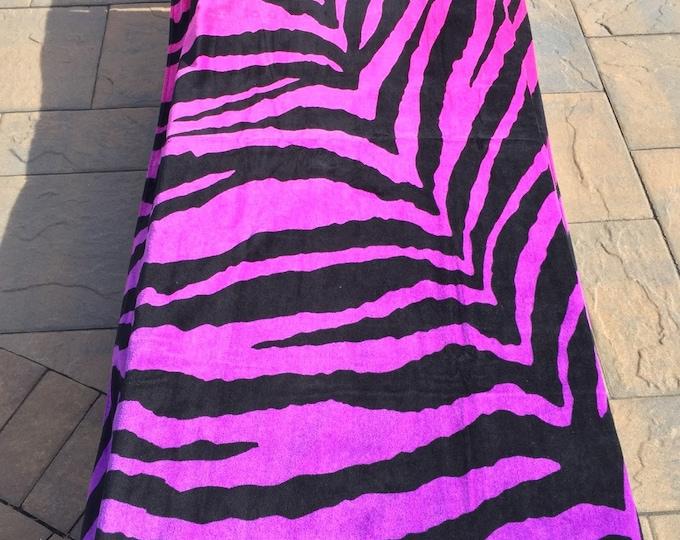 "Large OVERSIZED Beach Towel - Ombre Zebra Personalized or Monogrammed 34"" x 64"" Personalized Beach Towel"