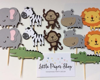 Handmade Cupcake Toppers - Jungle Safari Theme x 12