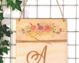 Monogram Timber wall banner - Print on Timber floral detail