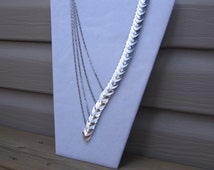 Scale Mail Anodized Aluminium Necklace with Matte and Mirror Finished Small Scales.  Stainless Steel Chain and Anodized Aluminium Necklace