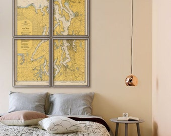 "Puget Sound map 1946 Old nautical map of Puget Sound, Admiralty Inlet, WA, 5 sizes up to 60x80"" in 1 or 4 parts - Limited Edition of 100"