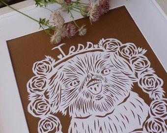 Pet Paper cut Portrait, Custom Pet Portrait, Custom Cat, Custom Dog, Pet memorial gift, dog memorial, cat memorial, pet illustration