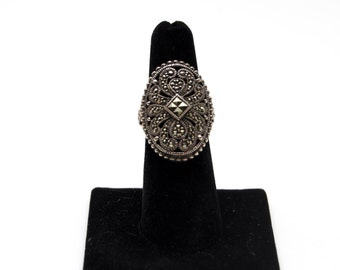 Giant Marcasite Shield Ring