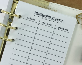 Personal Password Keeper printed planner inserts - website - username - password information - private - Personal Wide