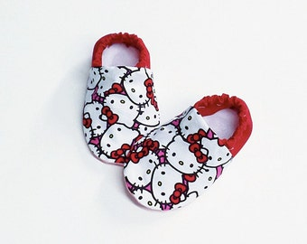 Handmade Soft Sole Baby Moccs / Moccasins / Booties / Crib Shoes / Slippers Hello Kitty Red