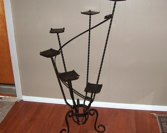 p7583: Antique Large Victorian Black Wrought Iron Plant Stand Tiered Steps Perfect Inside or Outside Patio Garden  Vintagewya Furniture