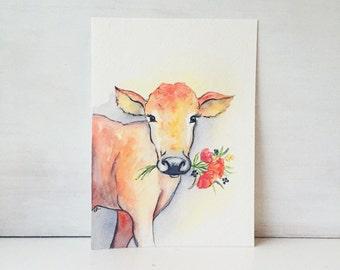 Cow watercolor - farm animal nursery - farm house decor - original watercolor