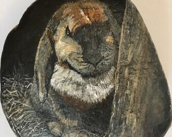 Painted Rocks, Wildlife Art Collectible, Animal Artist, Wild Rabbit Bunny Garden Stones, Rabbit Painting on Stone, CobbledArt