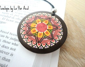 Necklace with Pendant handpainted wooden Penelope