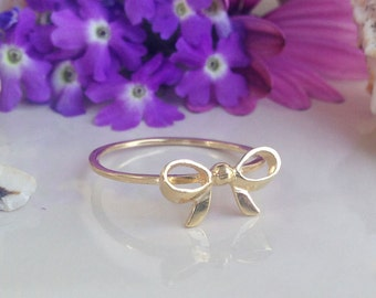 20% off- SALE!! Small Cute Bow Ring - Tiny Ring - Simple Jewelry - Gold Ring - Ribbon Ring - Bow Band - Slim Band - Stacking Ring