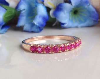 20% off-SALE!! Ruby Ring - Gold Ring - Stack Ring - Half Eternity Ring - Dainty Ring - Fuchsia Ring - Tiny Ring - July Birthstone Ring
