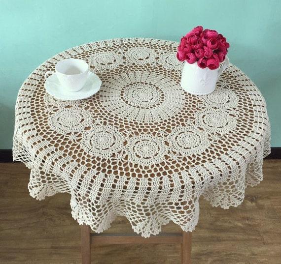 Lovely crochet pattern Round tablecloths Handmade crocheted