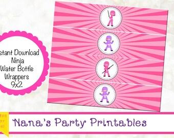 INSTANT DOWNLOAD - Ninja Water Bottle Wrapper - Ninja Girl Party - Samurai Water Bottle Wrapper - Karate Party - Ninja Birthday Party