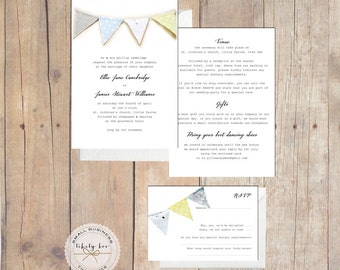 50 x Bunting Wedding Invitations UK,Rustic Wedding Invites,Yellow Wedding Invites,Kraft Wedding Invite,Custom Wedding Invite