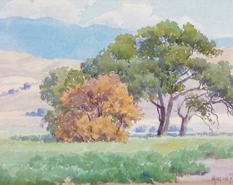 "Minerva Pierce ""California Oaks"" vintage watercolor"