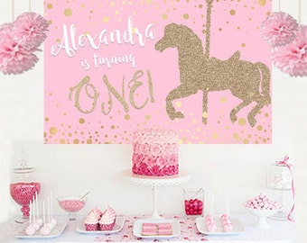 Carousel Horse Pink Glitter Personalized Party Backdrop - First Birthday Cake Table Backdrop Birthday- Baby Shower Backdrop- Custom Backdrop