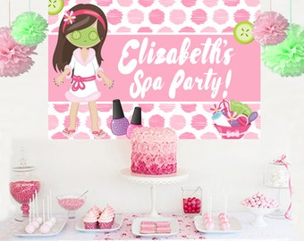 Spa Party Personalized Backdrop - Birthday Cake Table Backdrop Birthday- Make Up Birthday Backdrop, Custom Banner