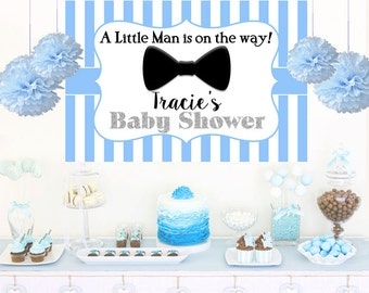 Little Man Blue Personalized Backdrop - Baby Shower Cake Table Backdrop Birthday-  Bow Tie Backdrop, Custom Backdrop