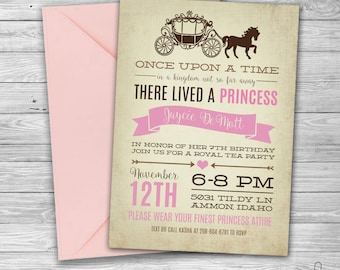 Princess Birthday Party Invitation | Digital Download | Girl's Birthday Party Invitation | Pink Princess Party | Disney Birthday Party