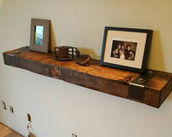 Rustic Reclaimed Wood Floating Shelf with Gunmetal Steel Hardware Brackets/wall Shelf. FREE SHIPPING!!
