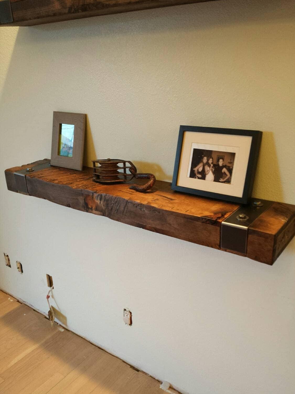 rustic reclaimed wood floating shelf with gunmetal steel. Black Bedroom Furniture Sets. Home Design Ideas