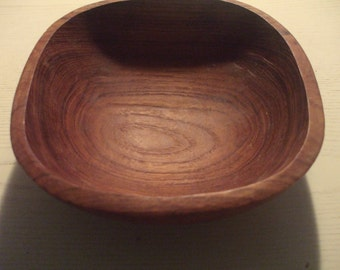 Signed Teak Wood Bowl