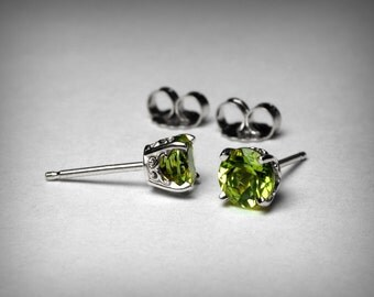 14K Genuine Peridot Earrings Studs, Genuine AAA Peridot Stud Earrings, 14K White Gold, Peridot Jewelry, August Birthstone Earrings, Filigree