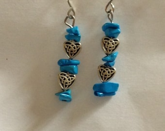 Turquoise Stone and Silver Heart Earrings