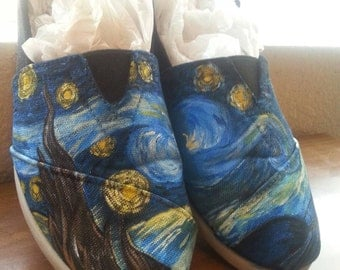 Hand painted starry night shoes