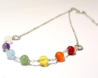 Seven chakra jewelry, 7 chakra necklace, balancing necklace, gemstone necklace, heal stone gift, Yoga necklace, chakra color gem, Gift idea