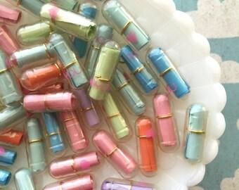 Kawaii Love Pills - Fake Pills - Secret Message Clear Pills - 20 pcs Mixed Assortment of Fake Pill Cabochons