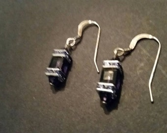 Sterling Silver Earrings Purple Crystal Dangle 925 Jewelry
