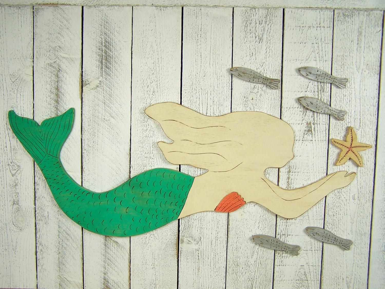 Wood Mermaid Mermaid Decor Mermaid Wall Art Mermaid Wall Decor