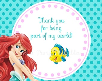 Instant Download Ariel, Little Mermaid, favor tags, thank you tags, sheet, tags, Kid's Birthday Party Invite Birthday Invitation