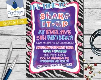Printable Dance Party  Birthday Invitation / DIGITAL Fun and Vibrant Invite