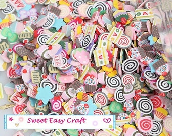 100/500pcs Assorted Candy Sweet Loillpop Chocolate Cake polymer clay Slice DIY phone decor nail Art Jewelry supply finding earring necklace