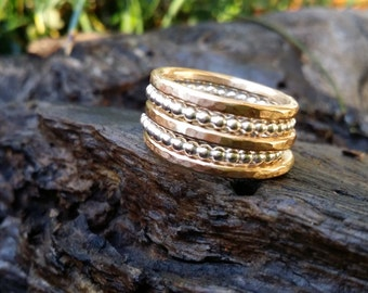 Stacking ring set two tone sterling silver and gold fill. Wide band stacking ring set. Silver and gold rings. Made in Australia.