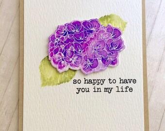 Friendship / Notecard / Handstamped / Waterclor / Hydrangea