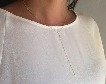 14k gold lariat initial necklace, gold lariat necklace