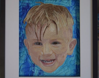 Custom Thread Painted Portraits.  Quilted Background.  Portrait Art Quilt.  Thread painted Portrait