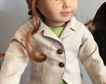 "Linen Jacket -  for 18"" American Girl Doll"