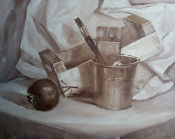 Still life oil in the grisaille technique