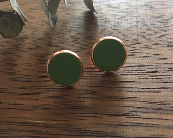 Spanish Olive in Copper Setting Clay Studs
