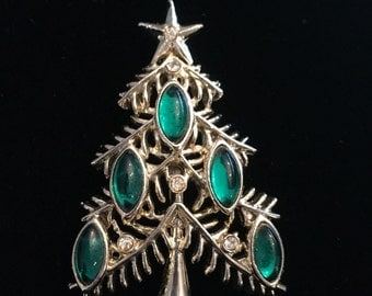 Tancer II Green Navette Christmas Tree Brooch / Pin