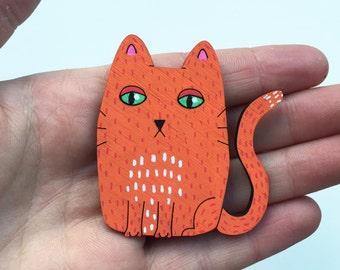 Cat brooch/magnet - kitty orange - lasercut - crazy cat lady