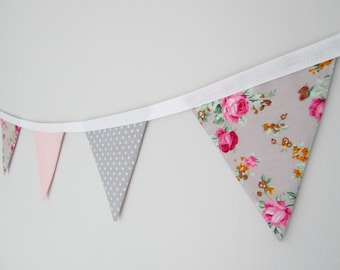Grey and Pink Floral Fabric Mini Bunting, vintage, wedding, nursery, shabby chic, summer, party,
