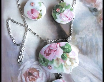 Handmade broken china pink roses two-parts necklace and dangle  earrings