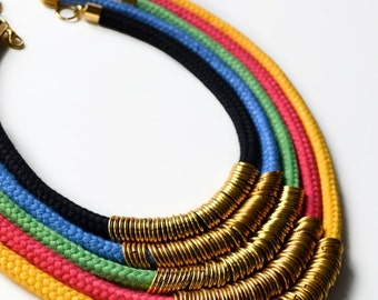 Brass and Hand dyed Cotton Cord Statement Necklace in Color Block Rainbow Colors